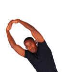 Fitness man doing obliques side stretch