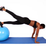 Fitness woman doing plank on swiss ball