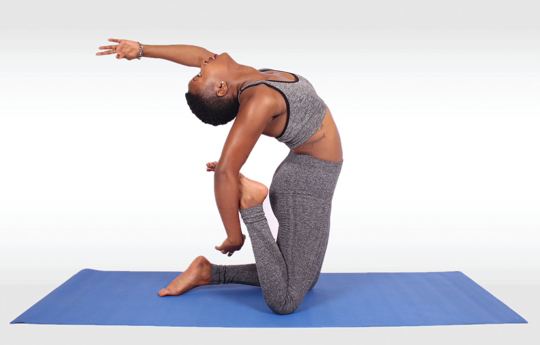 Fitness Woman Practicing Yoga on Yoga Mat - High Quality ...