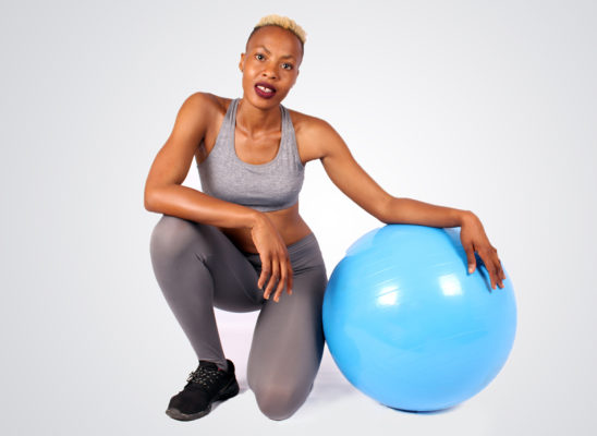 Fitness woman with swiss ball