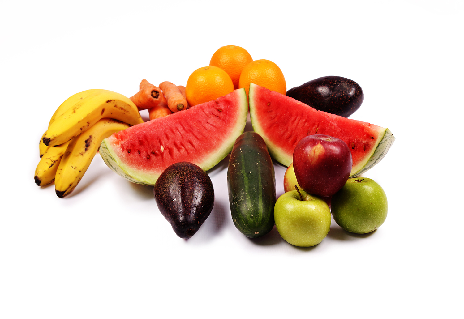 Fruits on isolated white background Bananas watermelon avocado apples carrots cucumber