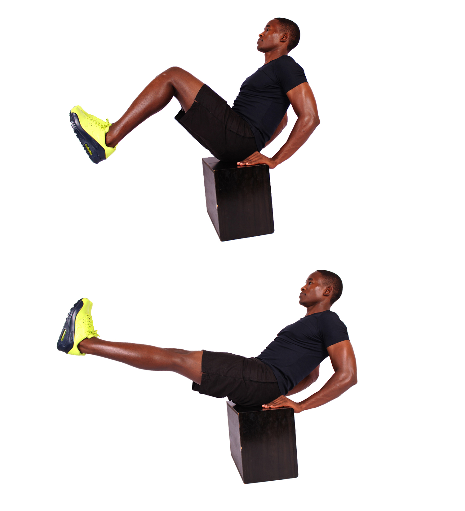 How to do v up crunches on step up box