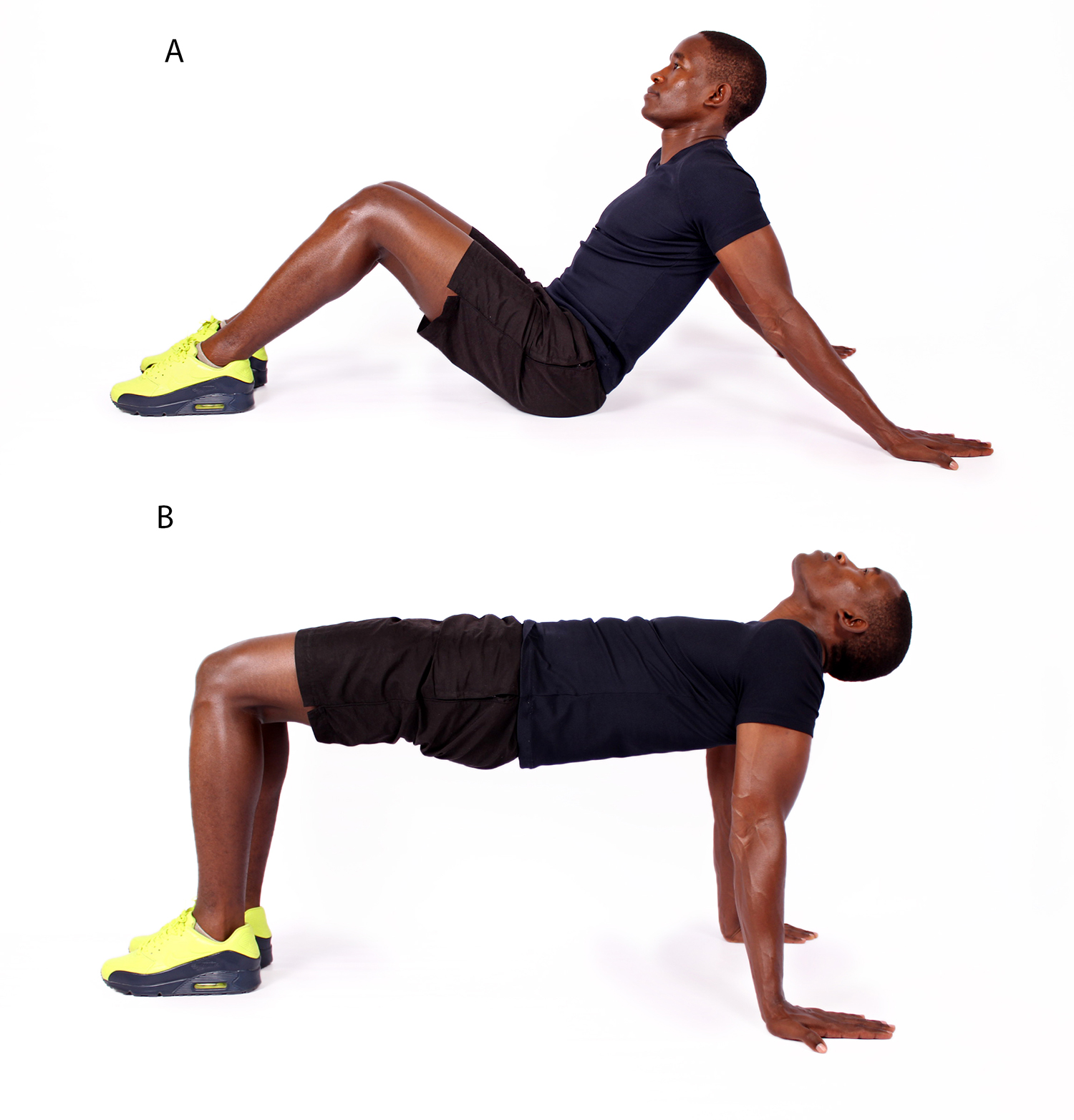 Muscular man doing tablemaker exercise