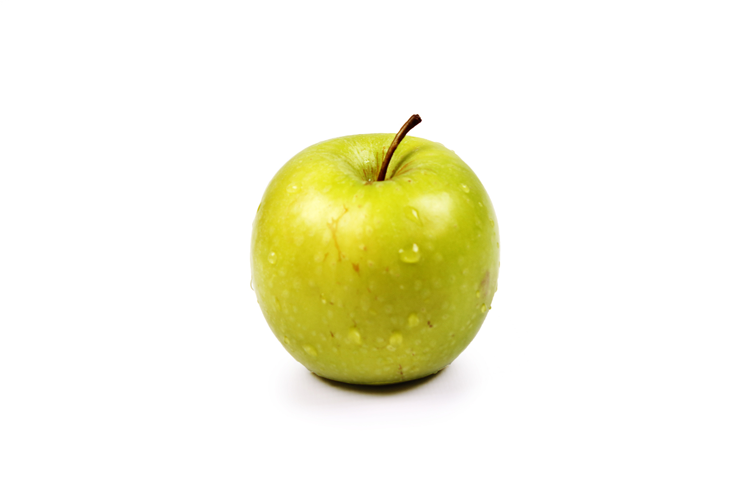 One green apple on isolated white background