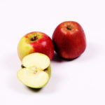 One slice of green apple and two red apples
