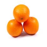 Three oranges fruits on isolated white background