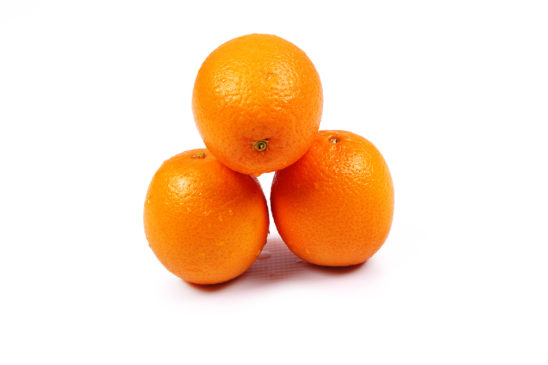 Three oranges fruits on isolated white background