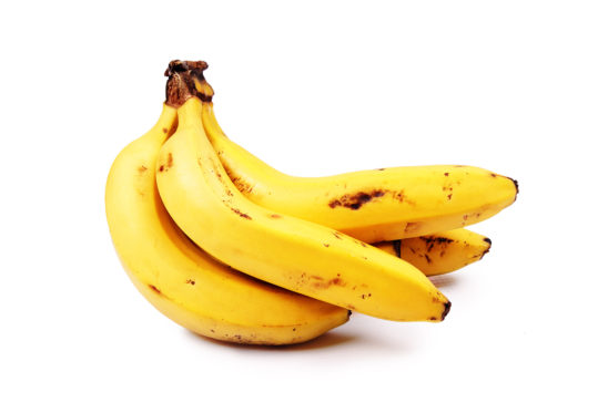 Yellow banana on isolated white background
