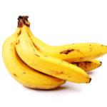 Yellow banana on isolated white background