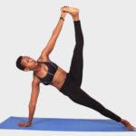 Yoga woman doing pose on yoga mat