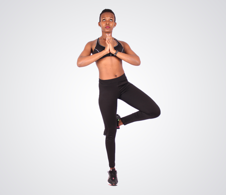 Yogi standing on one leg yoga pose