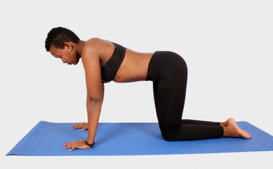 Young woman doing yoga in all fours