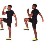 Fit man doing high knees cardio exercise