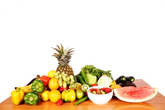 Fresh Fruits and vegetables on a table