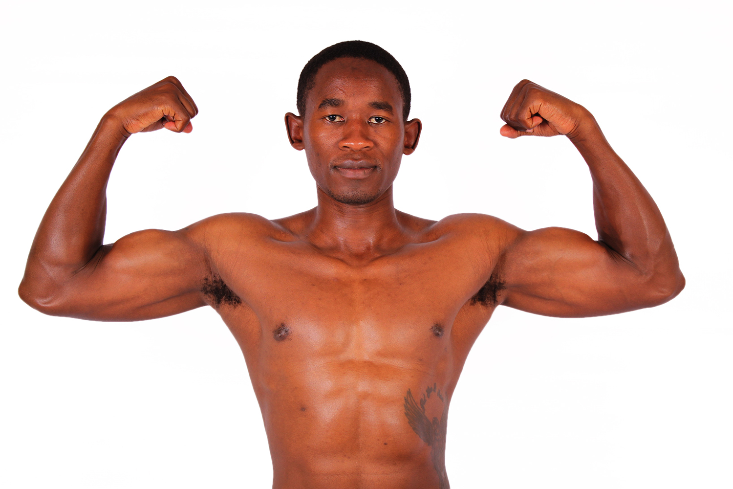 Athletic Man Flexing Biceps and Ab Muscles