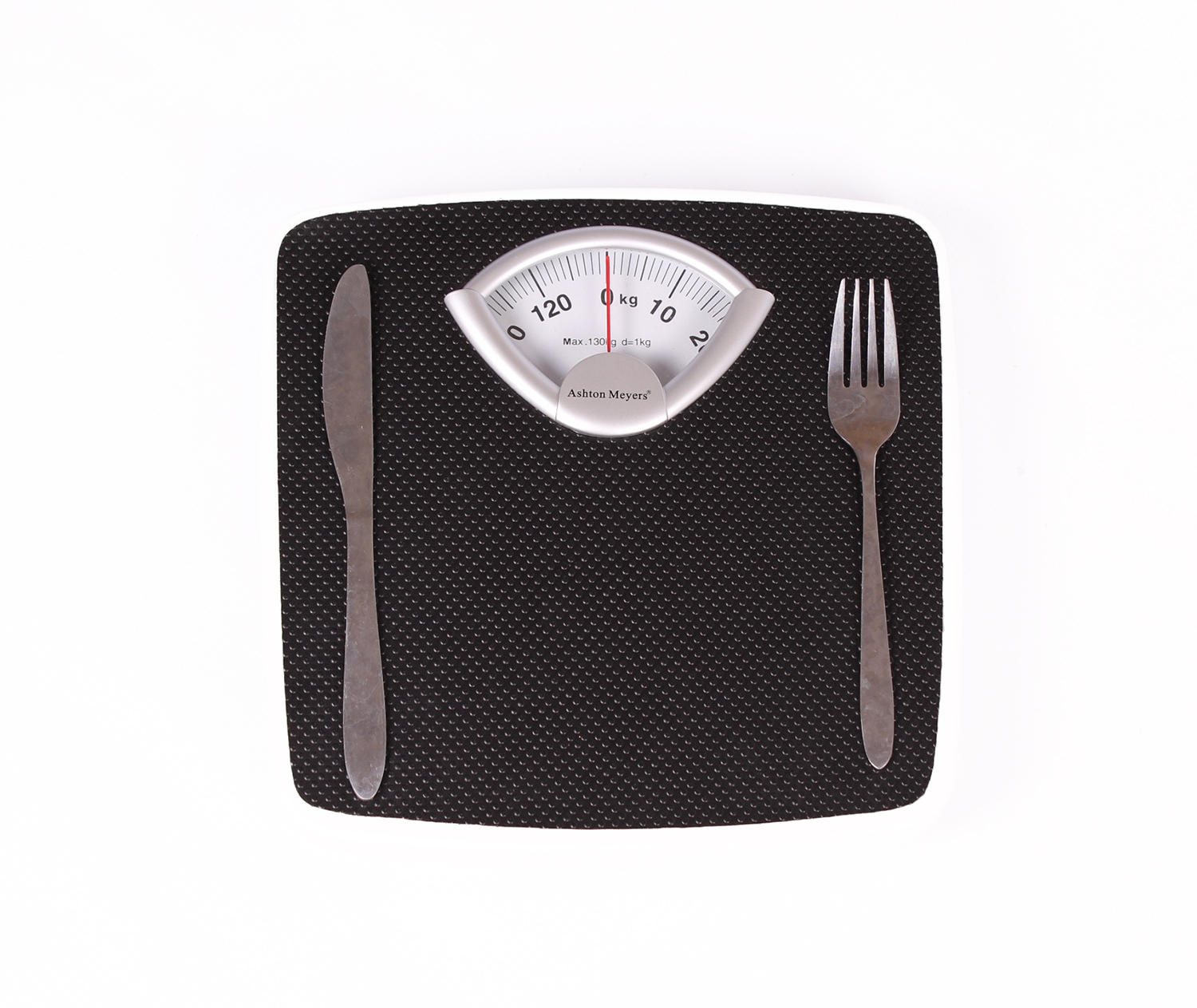 Folk and knife placed on weigh scale
